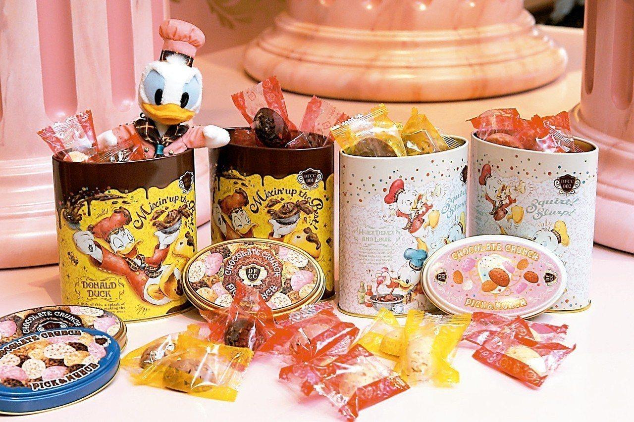 熱賣多年的巧克力脆球,可讓民眾自行搭配口味與包裝罐。 記者陳睿中/攝影