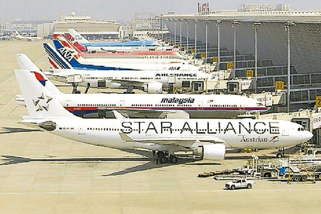 大陸共有定期航班航線4,418條。圖為浦東機場。 本報系資料庫