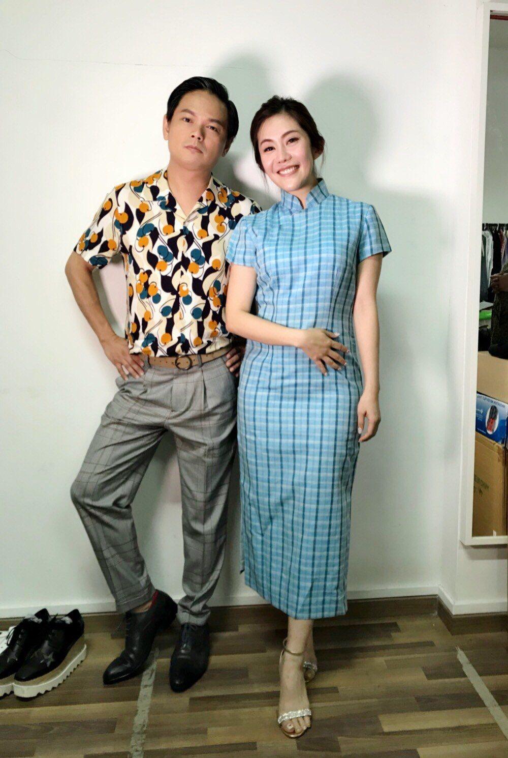 王宇婕(右)到新加坡拍網劇,男主角是新加坡喜劇之王周崇慶  圖/星之國際提供