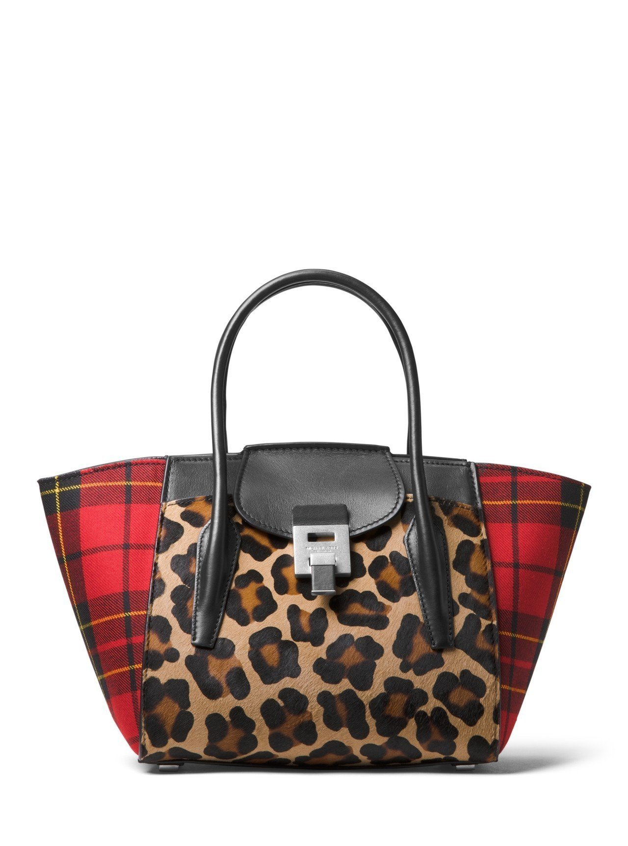 Bancroft豹紋紅格紋拼接提包,售價48,900元。圖/MICHAEL KO...