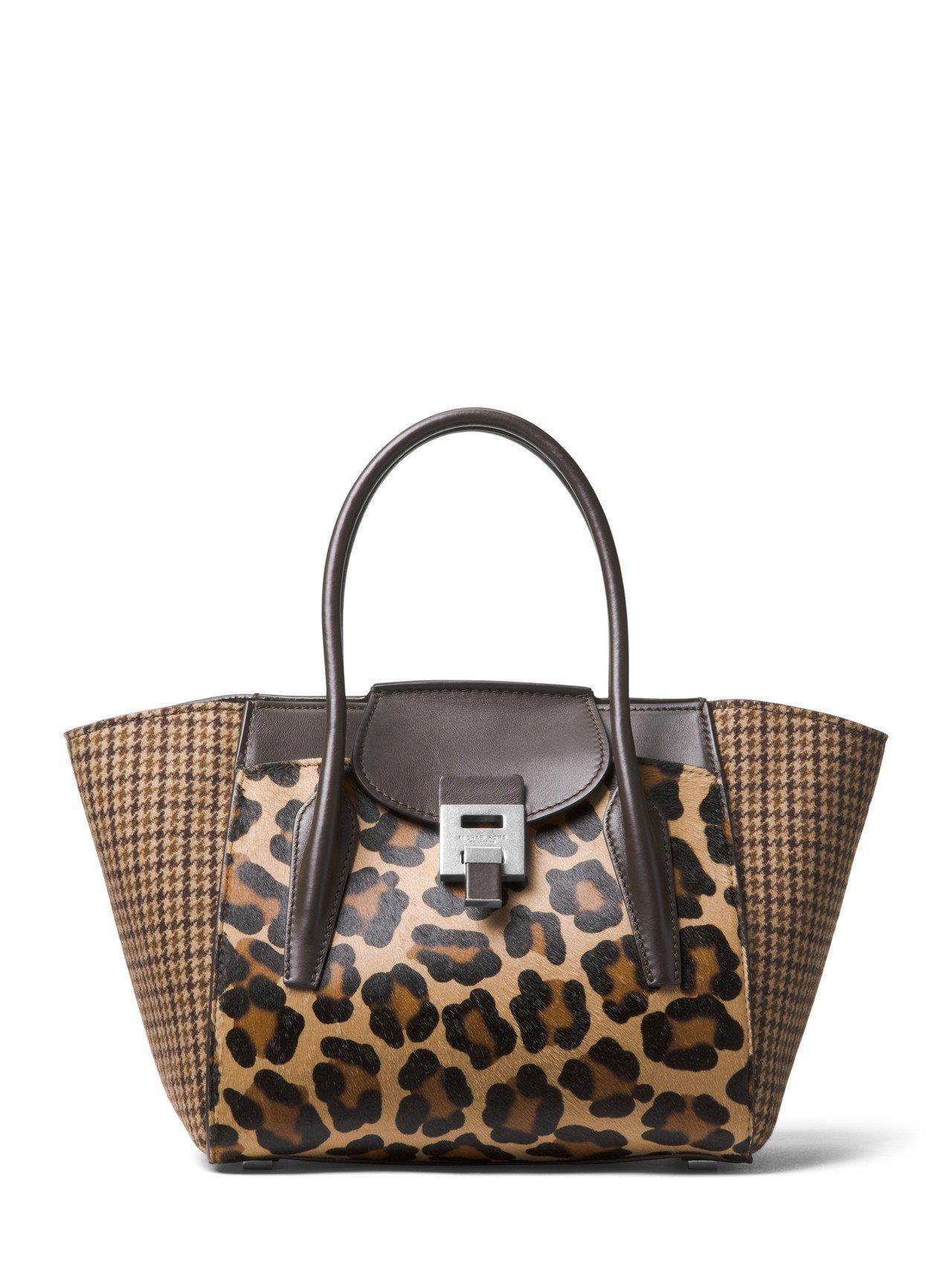 Bancroft豹紋駝色格紋拼接提包,售價48,900元。圖/MICHAEL K...