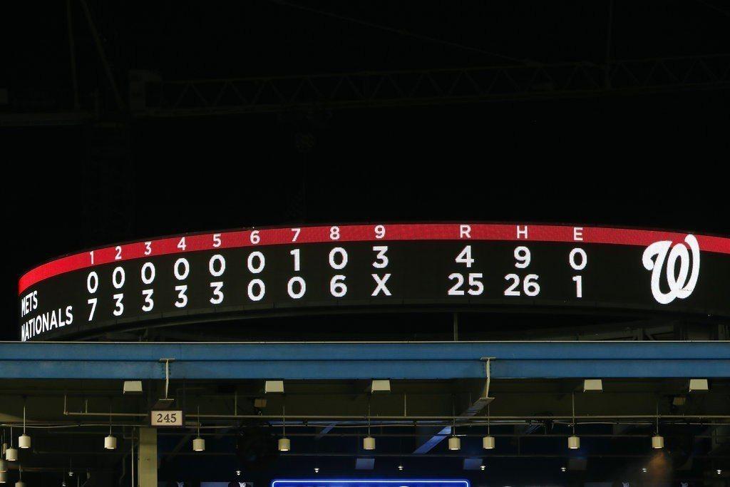 國民在主場以25:4打爆大都會,創下隊史單場最高分紀錄,而且勝率重回5成。 美聯...