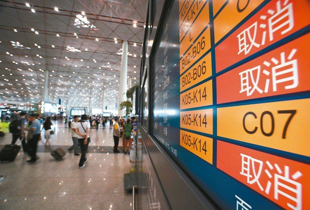 大陸去年航班準點率為71.67%,低於國際平均水準。圖為日前北京下大雨,航班延誤...