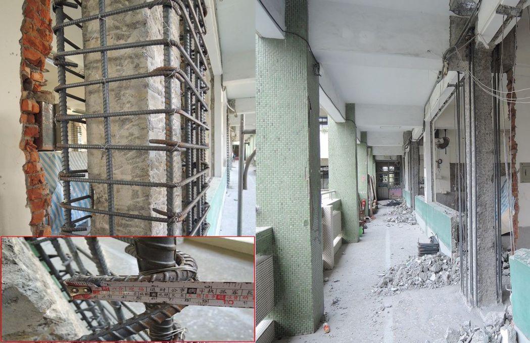 校舍耐震補強工程-擴柱箍筋彎鉤長度不足,拆除重做。 圖/研考會提供