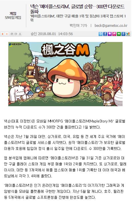 韓國媒體在報導中提及,《楓之谷M》台灣雙平台下載第一。