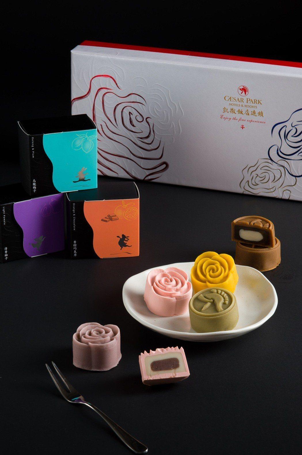 『果漾禮盒』以整體討喜的玫瑰造型,及象徵凱撒飯店連鎖的武士盔,營造月餅禮盒及口味...