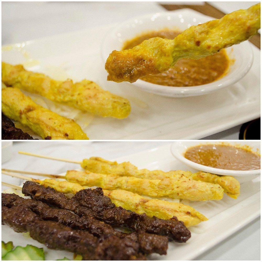 (圖/台灣旅行趣) ▲「南洋串沙嗲」以雞肉與牛肉為主,沾醬是使用打碎的花生顆粒和...