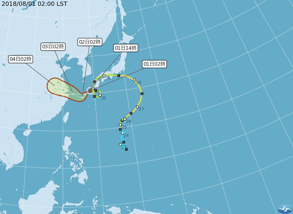 雲雀颱風路徑潛勢預測圖。圖/氣象局提供
