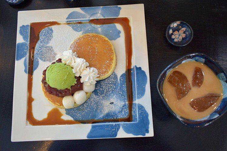 抹茶紅豆搭配鬆餅,嘗起來美味度爆表。圖/記者魏妤庭攝影