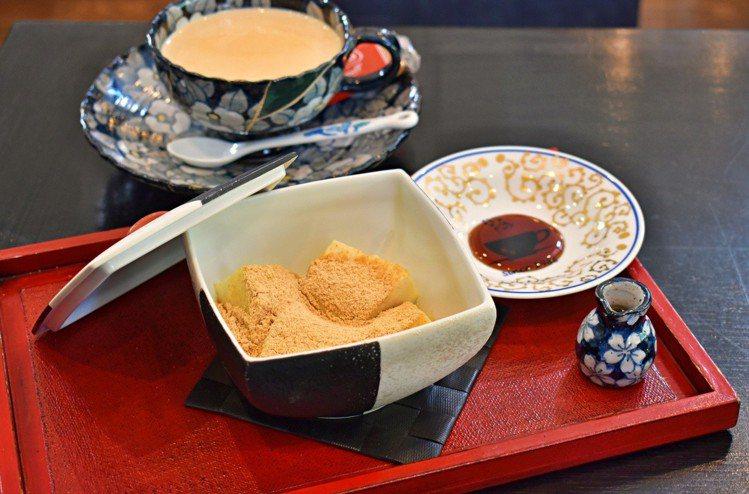 佐賀產豆腐,搭配黃豆粉及黑糖漿,乍看有些像蕨餅。圖/記者魏妤庭攝影
