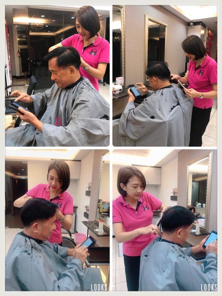 前總統陳水扁化身的「勇哥」,在臉書粉團新勇哥物語貼出照片,邊剪頭髮邊用手機寫勇哥...