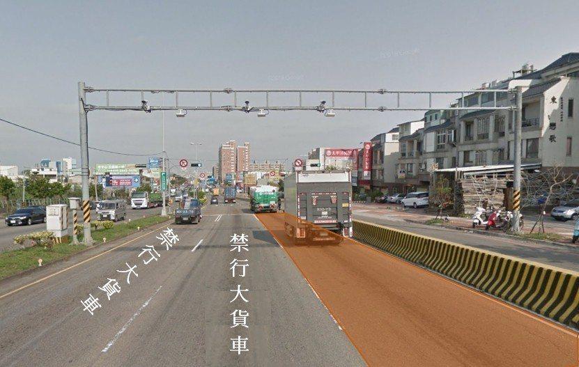 向上路下坡路段將改為大貨車進行強制分流行駛,僅能行駛最外側快車道。圖/台中市交通...