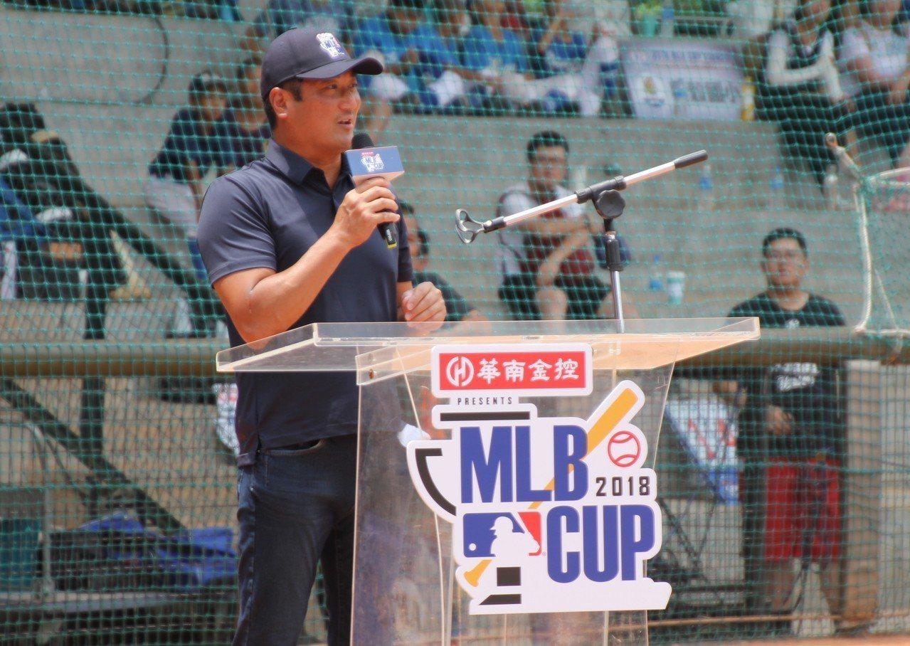 棒協理事長辜仲諒出席MLB CUP開幕典禮。記者葉姵妤/攝影