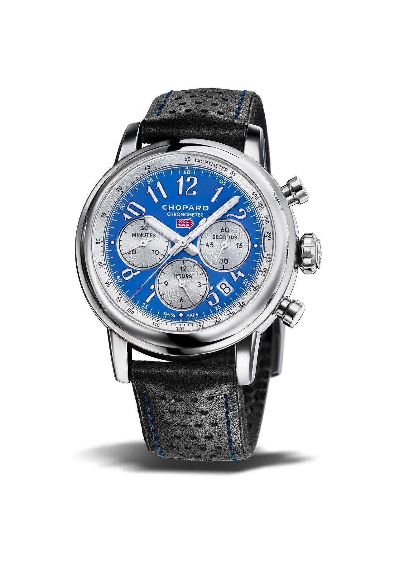 蕭邦Mille Miglia Racing Colours腕表,法國藍表盤搭配不...