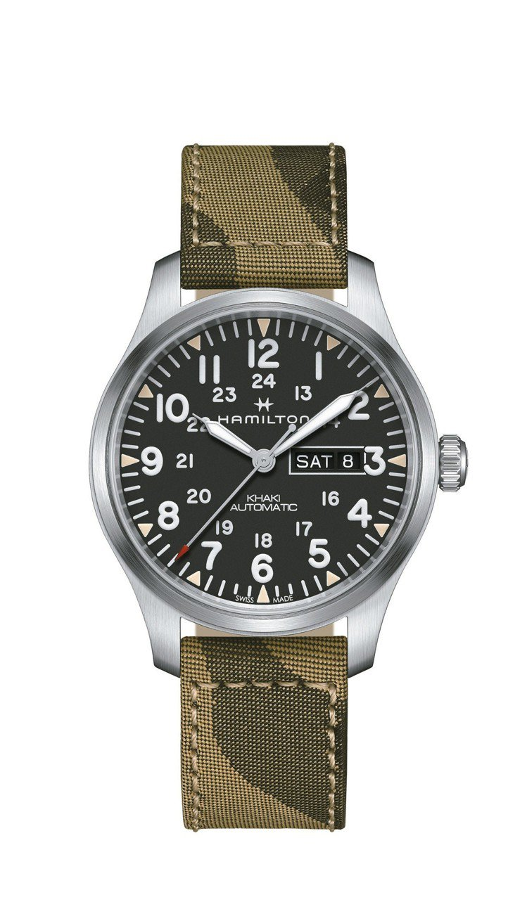 漢米爾頓Khaki Field Day-Date陸戰雙曆韓戰紀念腕表,不鏽鋼表殼...