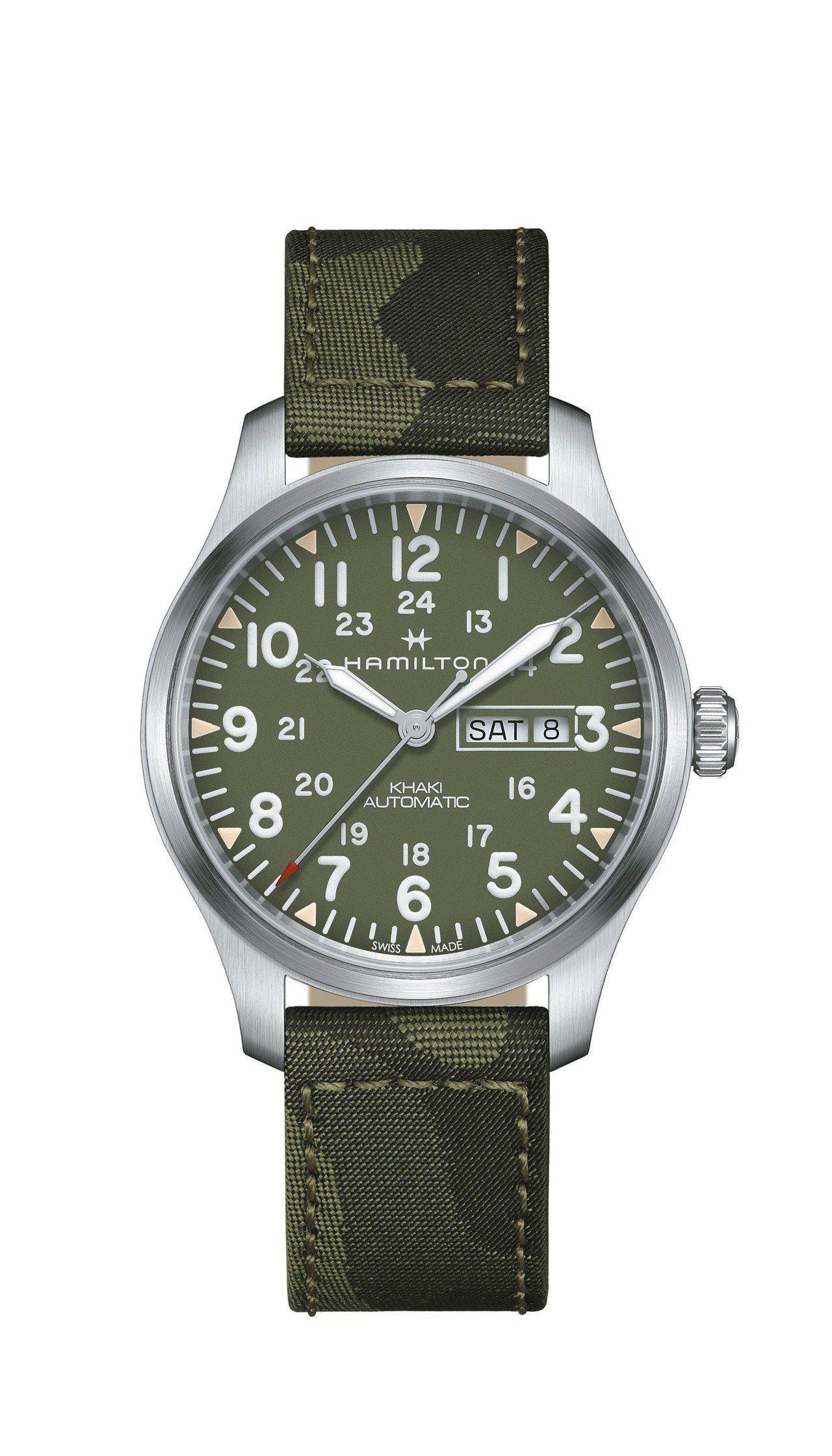 漢米爾頓Khaki Field Day-Date陸戰雙曆越戰紀念腕表,不鏽鋼表殼...