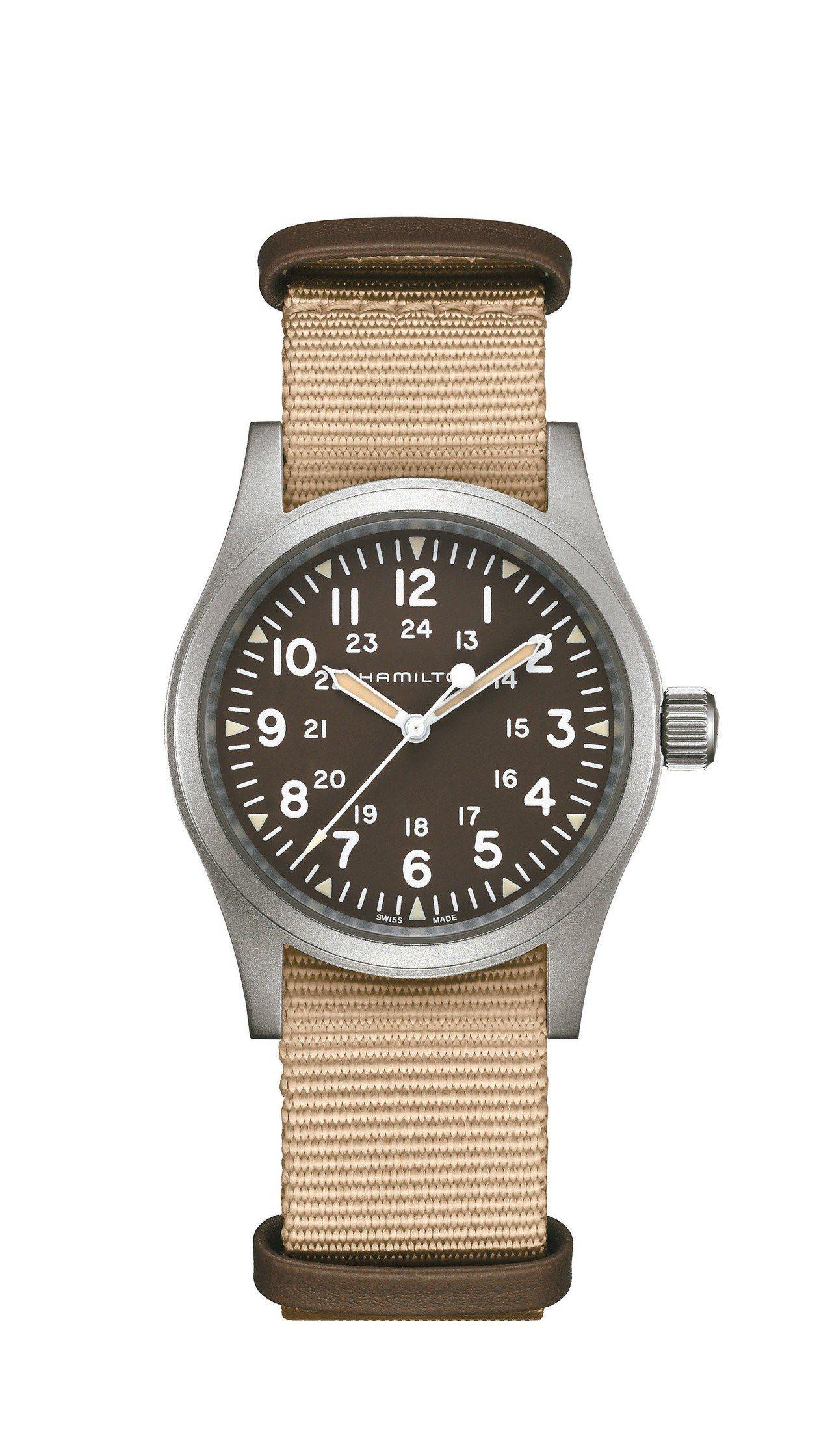 漢米爾頓Khaki Field陸戰手上鍊腕表,不鏽鋼表殼,搭載ETA 2801-...