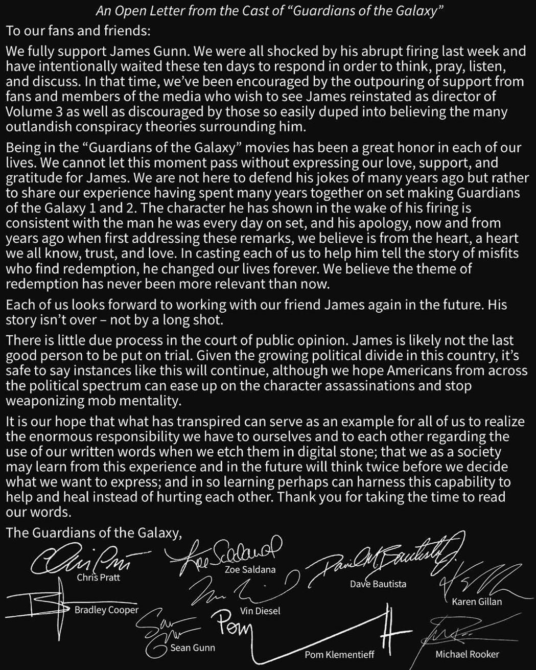 「星際異攻隊」所有主角、配音要角發表聯名聲明,希望導演重新被聘用。圖/摘自Ins...