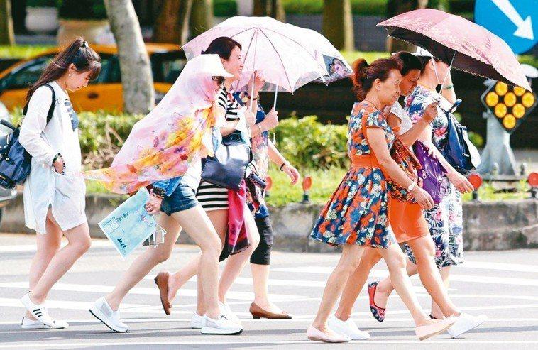 陽傘是最直接簡單的防曬工具。 本報資料照片