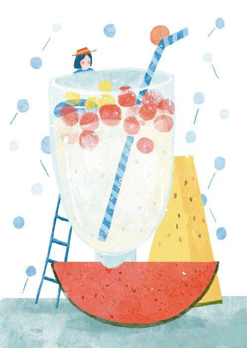 先將煮好的椰奶西米露舀入高腳杯中,再用挖球器將西瓜肉取出,輕輕放入杯中。一紅一黃...