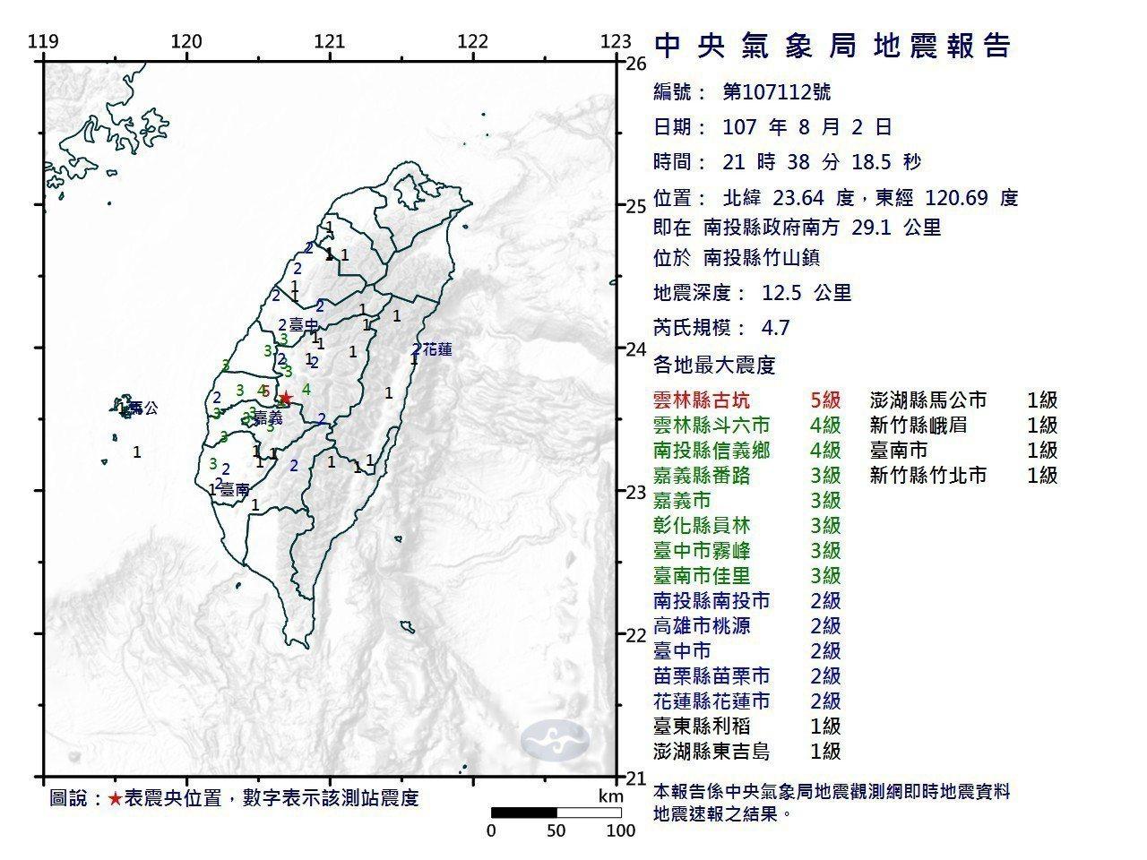 地牛翻身!今天晚間23點38分,雲林地區發生有感地震,雲林縣消防局正在了解是否有...