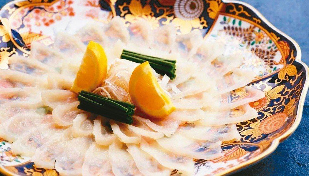 山田屋的河豚生魚片薄得可透光。 有行旅/提供