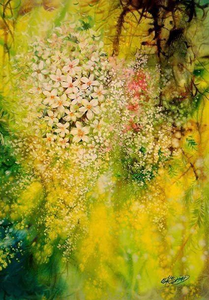 畫家吳政達「花系列-五月雪」作品。 吳政達/提供