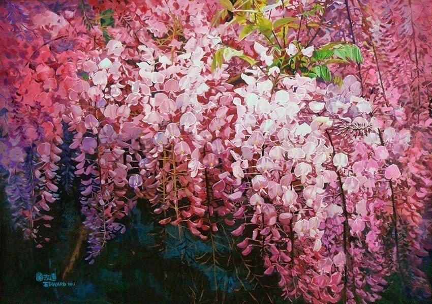 畫家吳政達「花系列-紫藤花」作品。 吳政達/提供