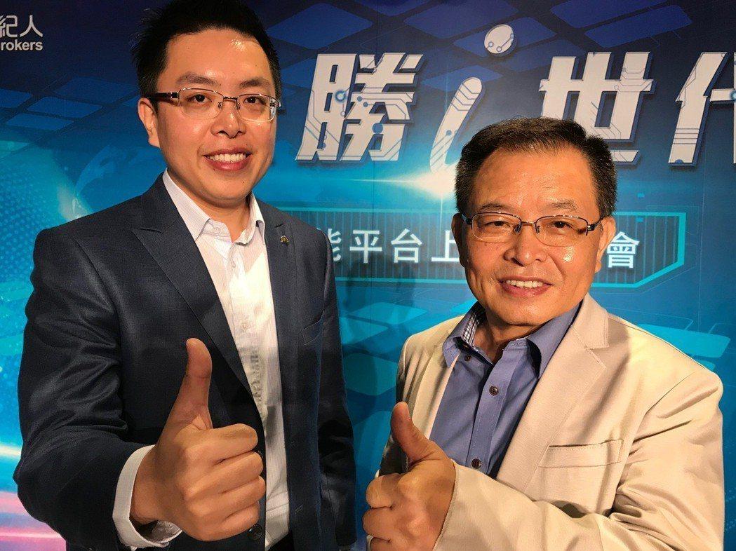 公勝保經董事長蔡文俊(右)、總經理蔡聖威(左)合影。 記者陳怡慈/攝影