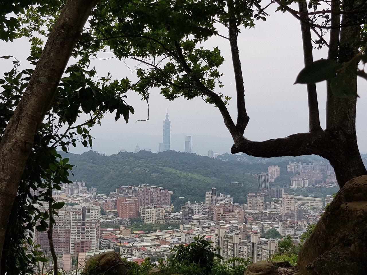 北市文山區仙跡岩頂眺望市區風景。記者翁浩然/攝影