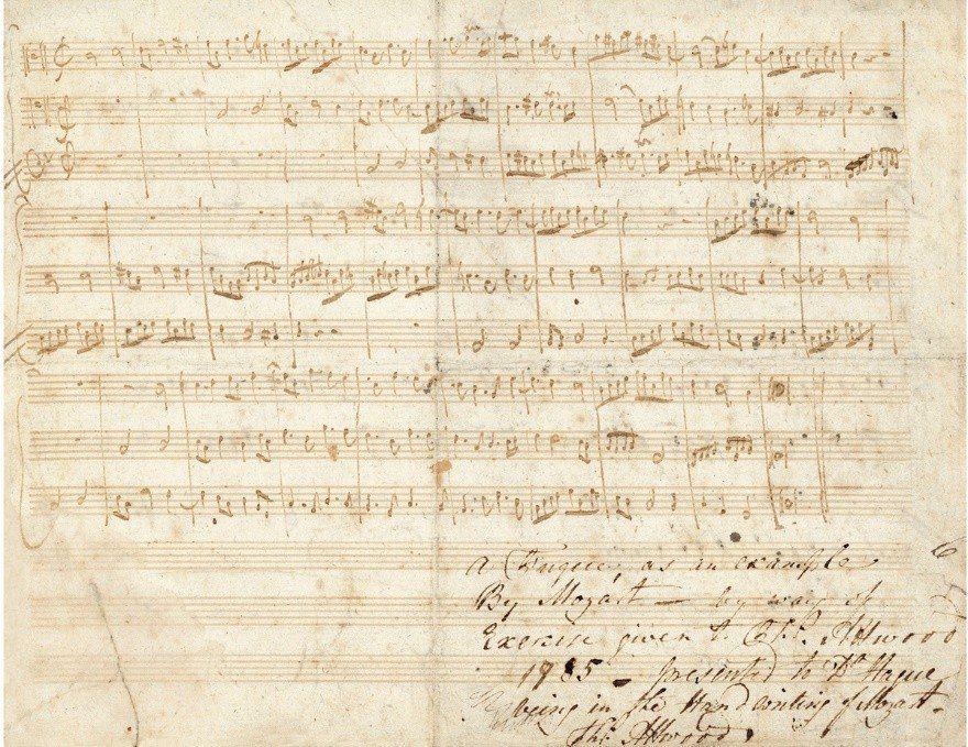 ▲2018西泠春拍莫札特 為學生作《c小調賦格曲(作品號506a)》珍貴...