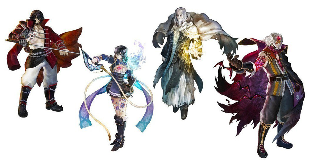 遊戲裡的四位角色,由左至右分別是:斬月、米莉安、亞佛烈德、吉貝爾。