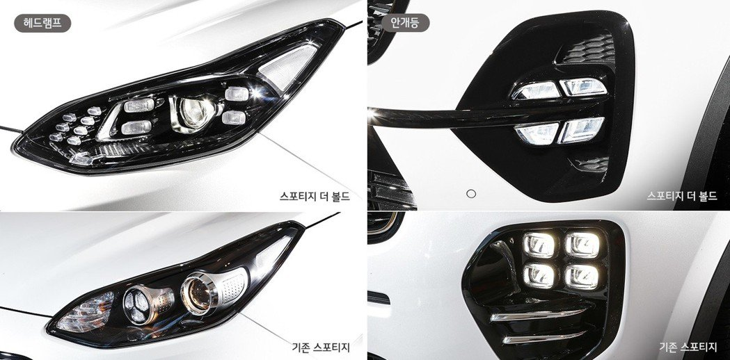 Kia Sportage小改款前後差異,圖上為小改款後,圖下為小改款前。 摘自K...