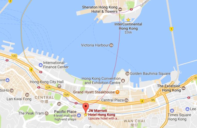 酒店地點,就在太古廣場 (Pacific Place) 附近 圖文來自於:Tri...
