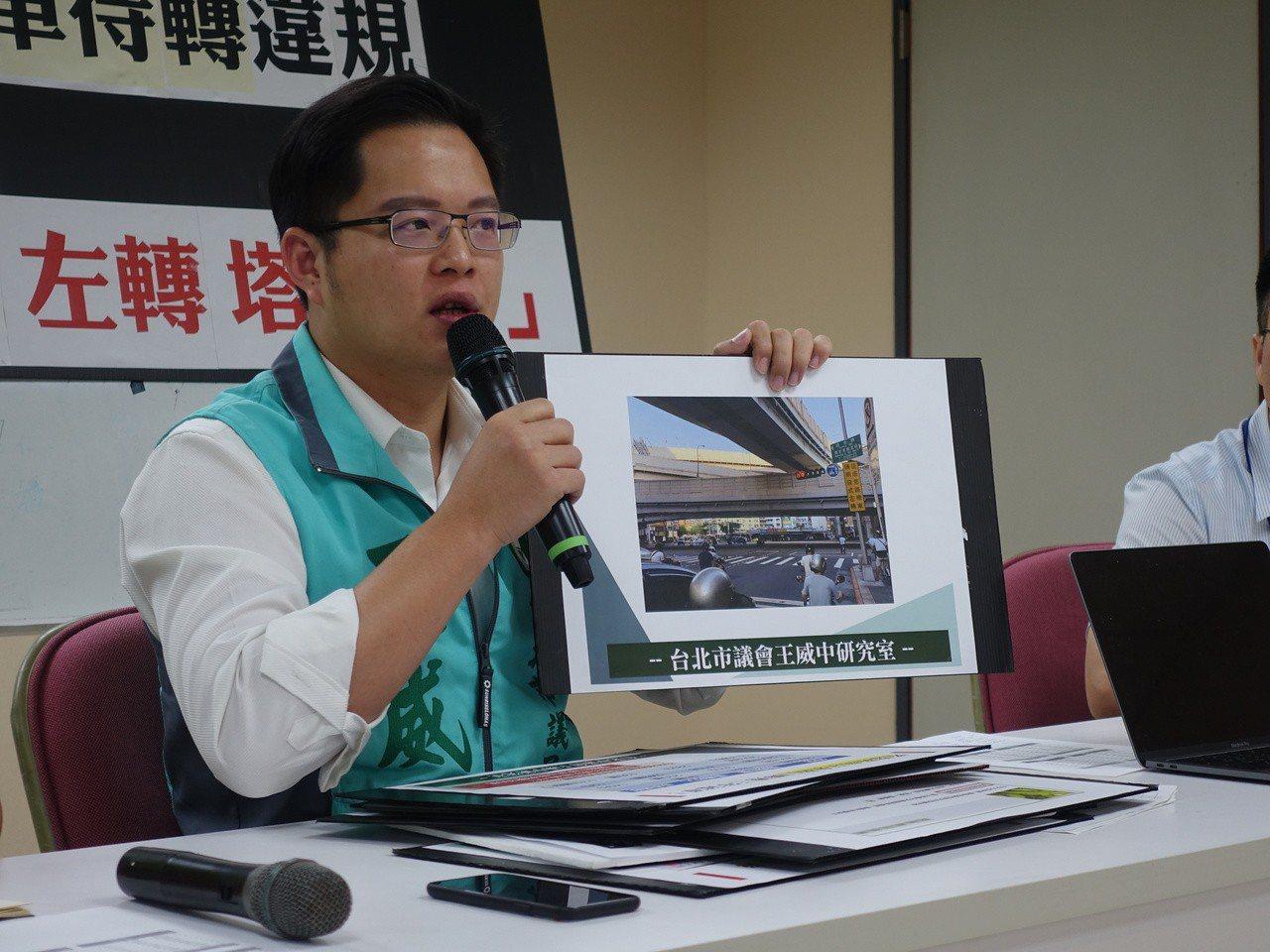台北市議員王威中今天公布北市2015年至今,各年取締「機車未依規定兩段式左轉」前...