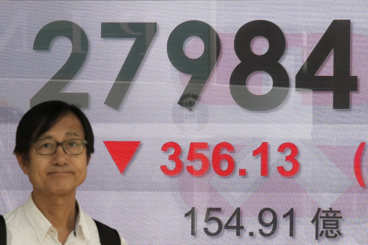 中港股市跌幅一度多達3%。美聯社