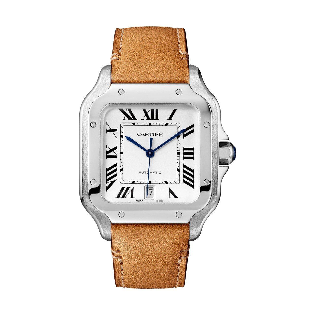 卡地亞 Santos de Cartier 精鋼腕表大型款備有日期窗,精鋼表殼搭...