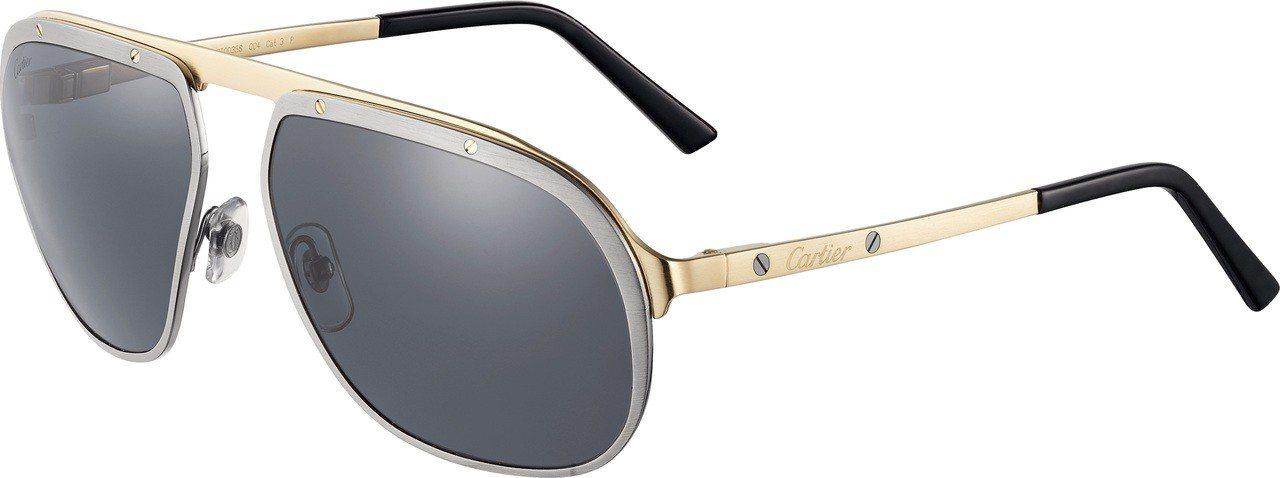 卡地亞 Santos de Cartier 飛行員雙色太陽眼鏡,裝飾有標誌性的表...