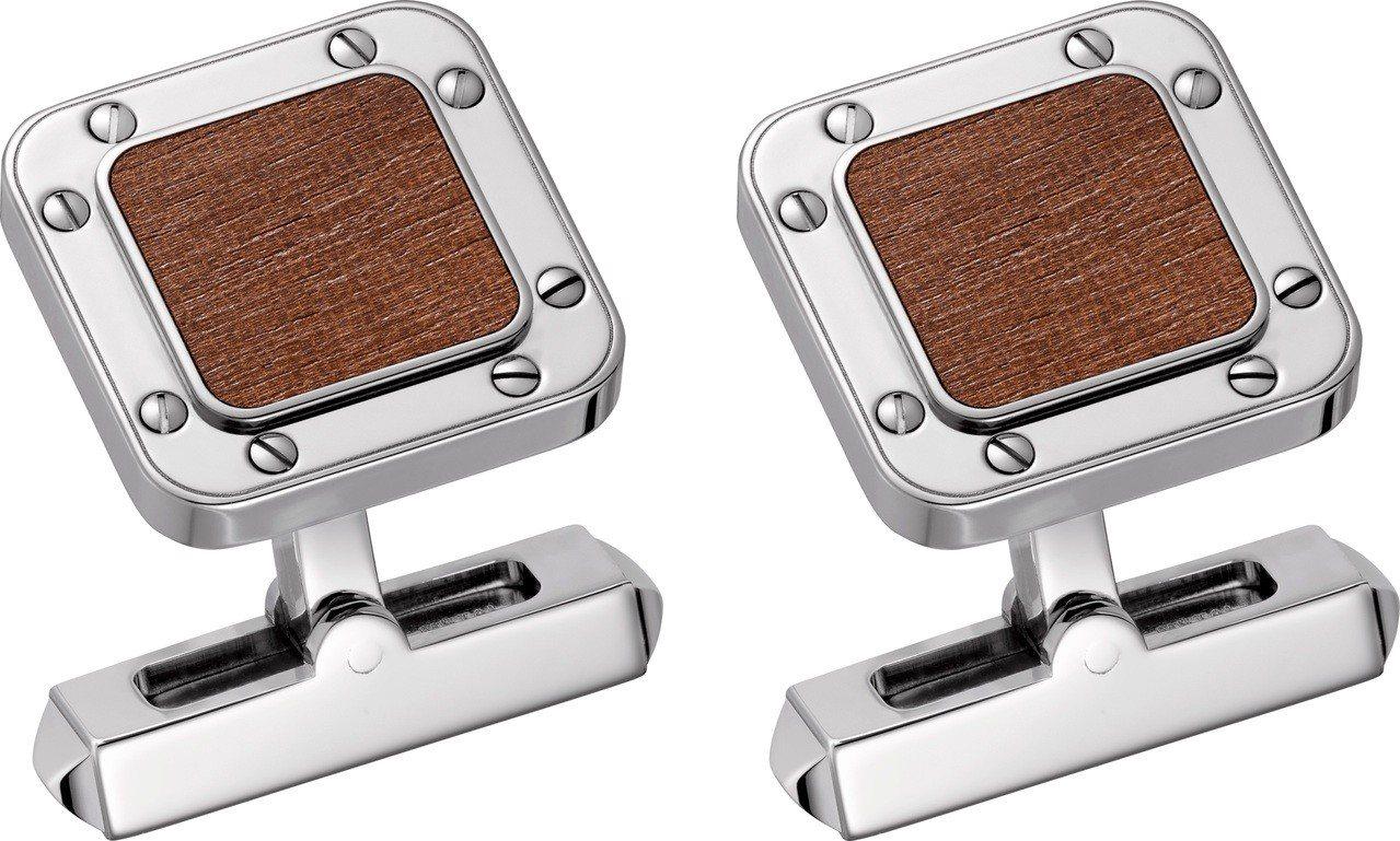 卡地亞 Santos de Cartier 木質袖扣,鍍鈀飾面純銀綴以棕色象牙海...