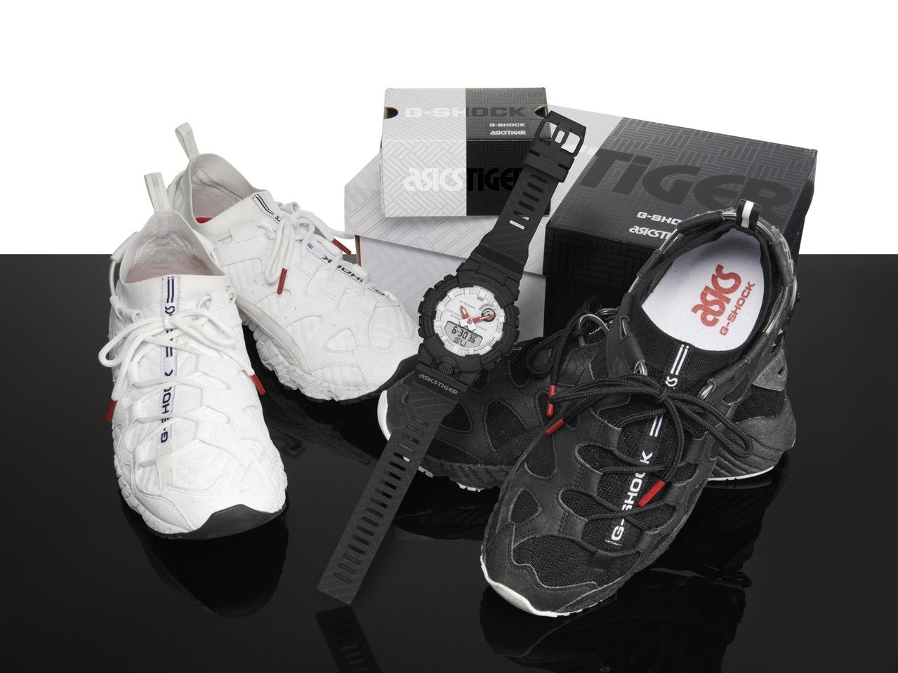 G-Shock與ASICSTIGER聯名系列腕表,以GEL-MAI鞋款為靈感,並...