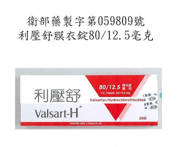 利壓舒膜衣錠80 12.5毫克(衛部藥製字第059809號)。圖/食藥署提供