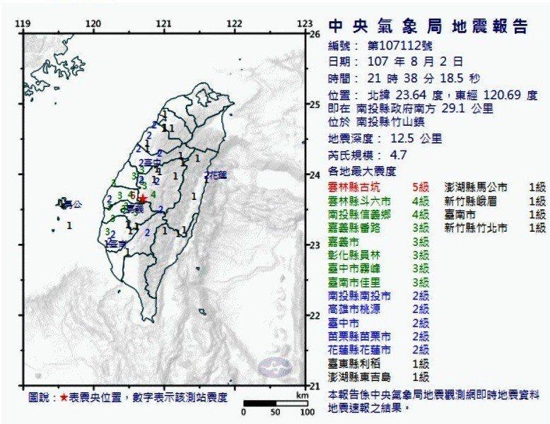今晚台灣中部傳出有感地震,震央在南投縣竹山鎮。記者何烱榮/翻攝