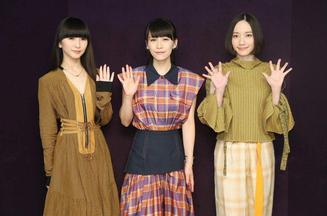 出身於日本廣島的女子流行電子音樂團Perfume,三位成員樫野有香(左起)、西脇