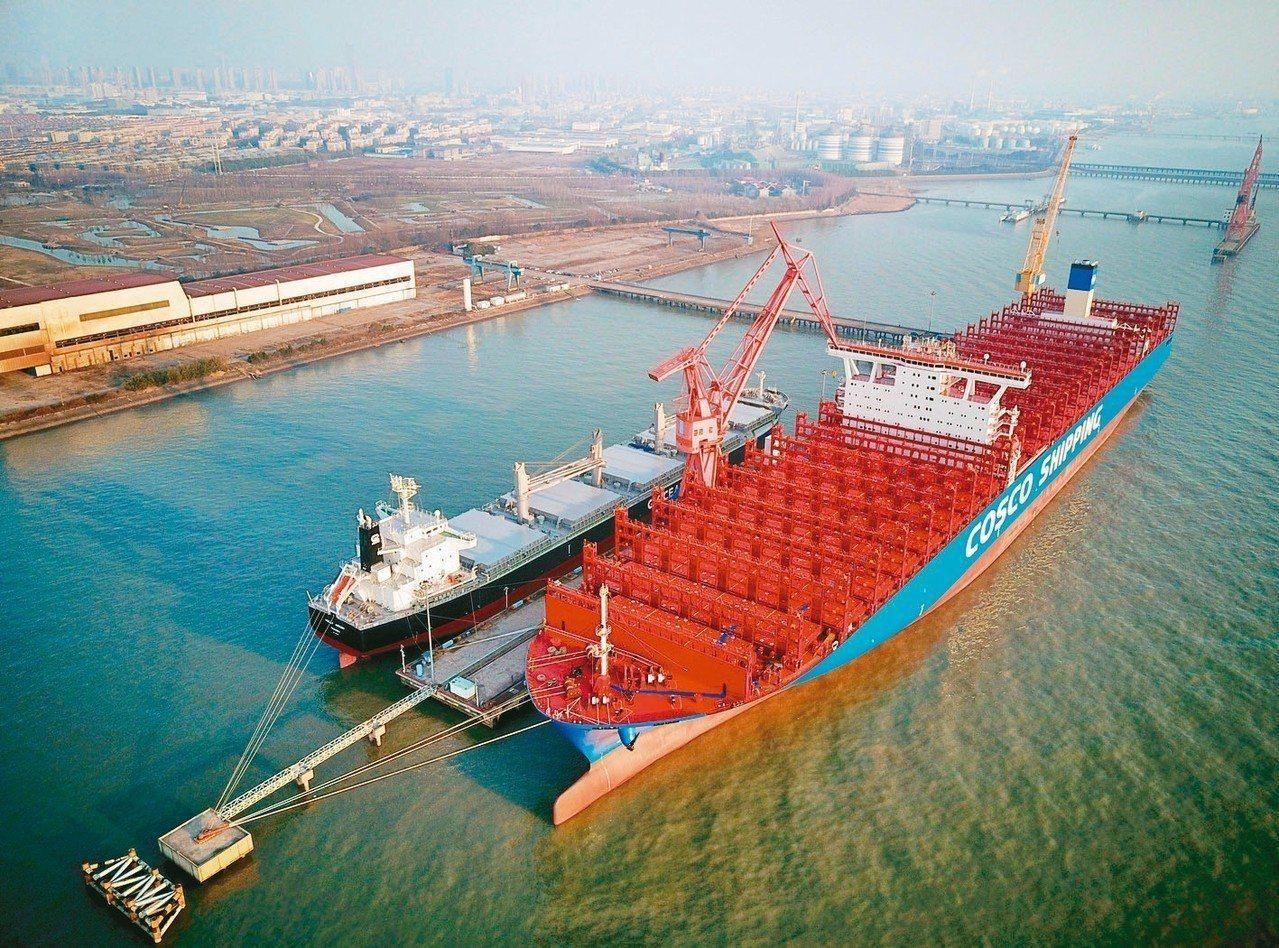 大陸造船完工量達4,268萬噸,居世界第一。圖為江蘇南通中遠川崎船舶公司新建貨櫃...