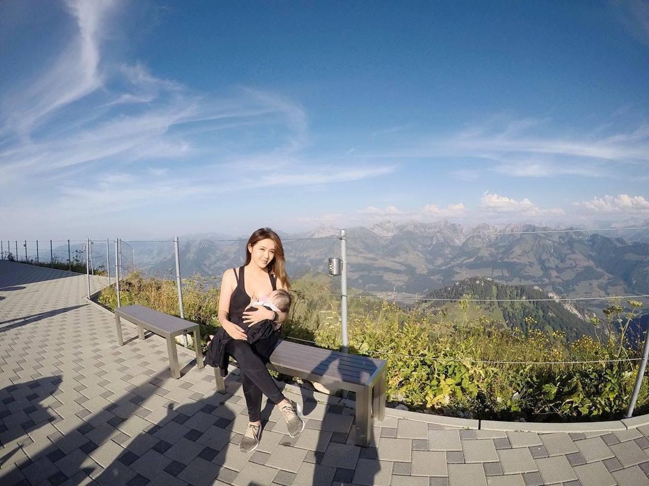 香港藝人官恩娜曬餵奶照,爭取哺乳權獲讚。圖/香港01