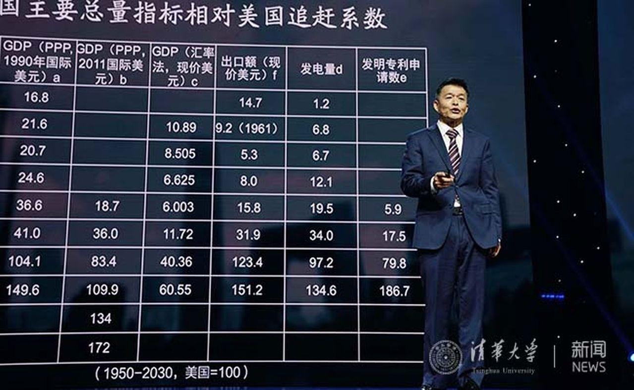 胡鞍鋼此前在清華演講時,提到中國正在實現對美國的全面追趕。(取材自清華大學新聞網...