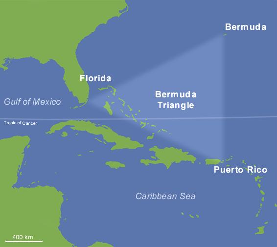 百慕達三角。圖擷自維基百科