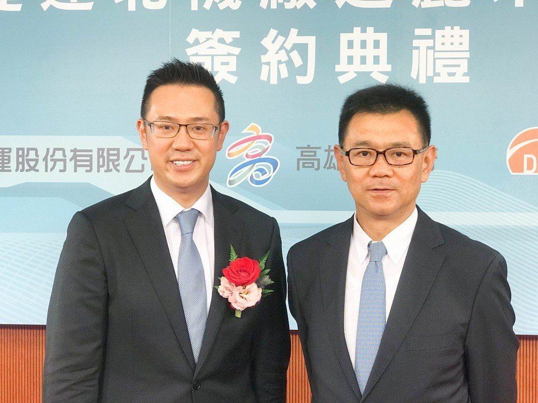達麗建設董事長謝志長(右)將商場開發事業區塊交給大兒子謝岱杰,完全授權,培養其在...