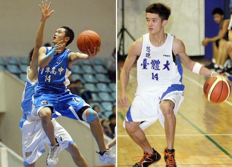 蔣淯安於青年高中(左)與台體(右)時期上場畫面。 圖/聯合報系資料照