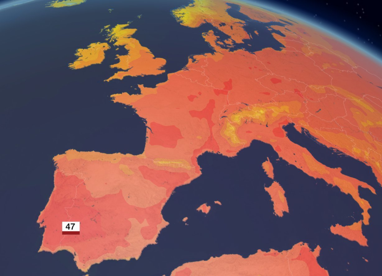 氣象圖顯示整個歐洲大陸一片紅通通,西班牙西南部及葡萄牙東南部預測將會出現45度以...